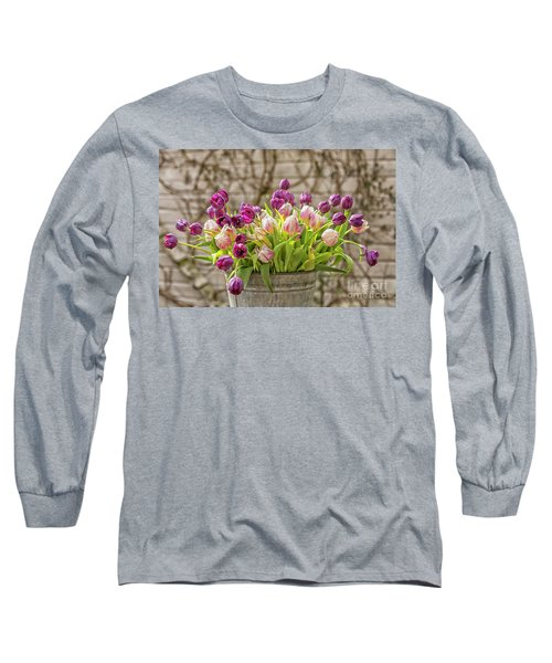 Long Sleeve T-Shirt featuring the photograph Purple Tulips In A Bucket by Patricia Hofmeester