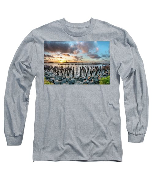 Long Sleeve T-Shirt featuring the photograph Pylons Mill Sunset by Greg Nyquist