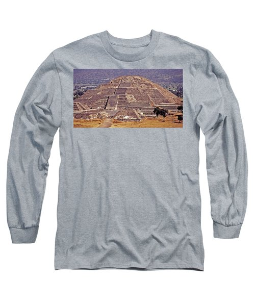 Pyramid Of The Sun - Teotihuacan Long Sleeve T-Shirt by Juergen Weiss