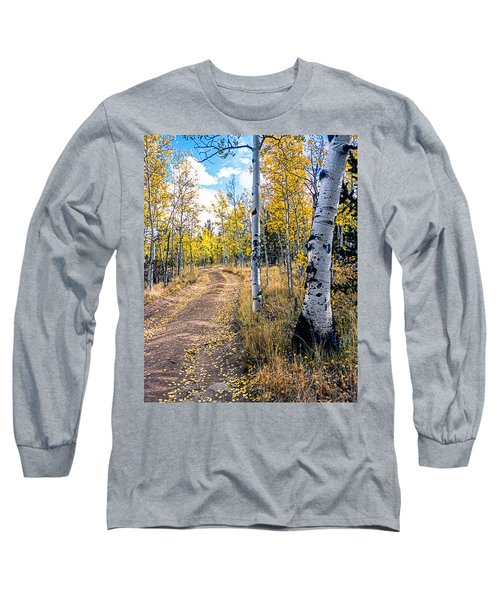 Aspens In Fall With Road Long Sleeve T-Shirt by John Brink