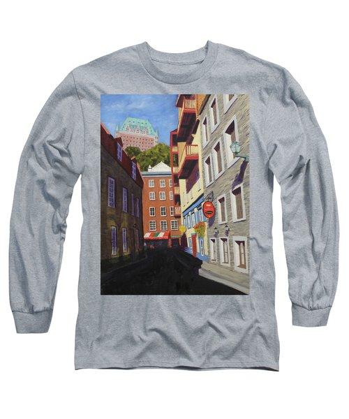 Quebec City Side Street Long Sleeve T-Shirt by Alan Mager