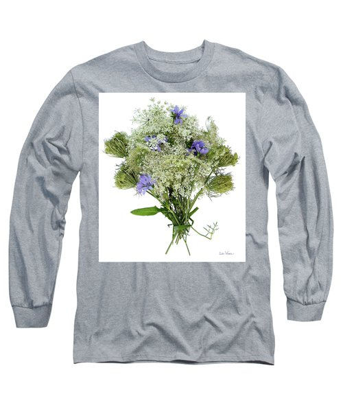 Queen Anne's Lace With Purple Flowers Long Sleeve T-Shirt by Lise Winne