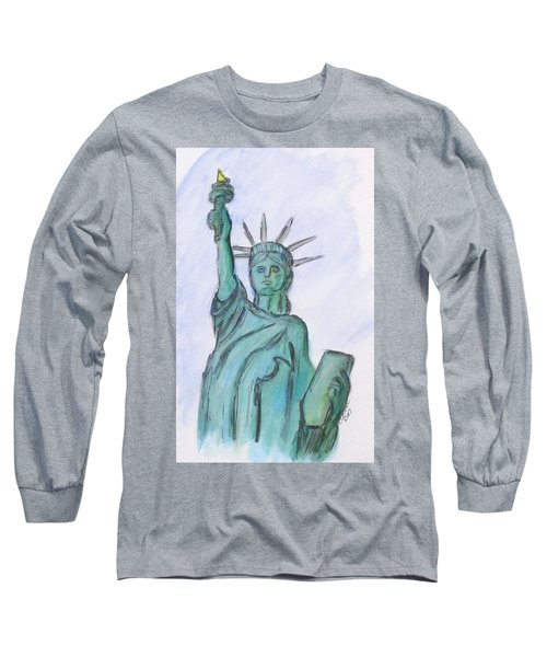 Queen Of Liberty Long Sleeve T-Shirt by Clyde J Kell