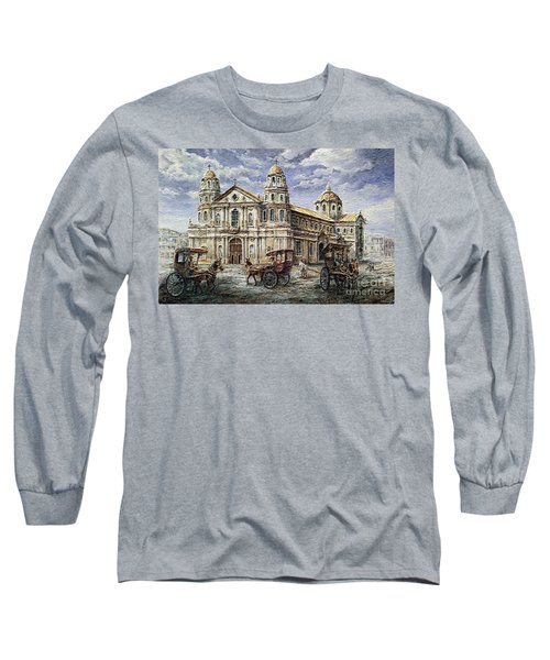 Long Sleeve T-Shirt featuring the painting Quiapo Church 1900s by Joey Agbayani