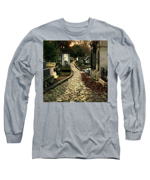 Long Sleeve T-Shirt featuring the photograph  Pere Lachais Cemetery Road by Katie Wing Vigil