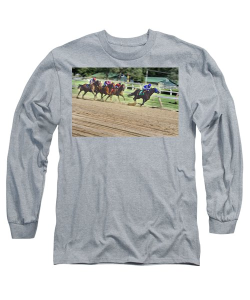 Long Sleeve T-Shirt featuring the digital art Race Horses In Motion by Lise Winne