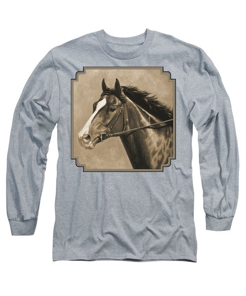 Racehorse Painting In Sepia Long Sleeve T-Shirt by Crista Forest