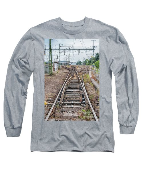 Long Sleeve T-Shirt featuring the photograph Railroad Tracks And Junctions by Antony McAulay