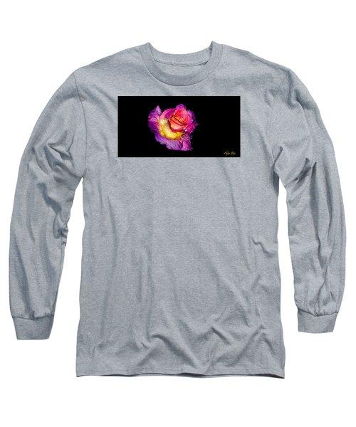 Rain-melted Rose Long Sleeve T-Shirt by Rikk Flohr
