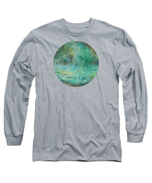 Long Sleeve T-Shirt featuring the painting Rain On The Pond by Mary Wolf