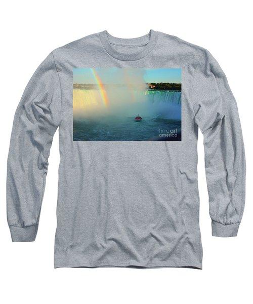 Rainbow At Horseshoe Falls Long Sleeve T-Shirt