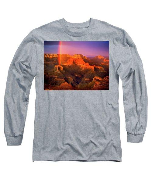 Rainbow At The Grand Canyon Long Sleeve T-Shirt