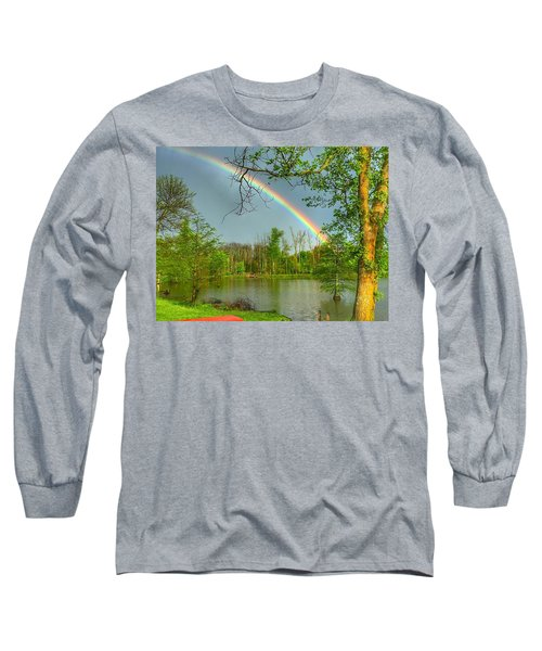 Rainbow At The Lake Long Sleeve T-Shirt by Sumoflam Photography