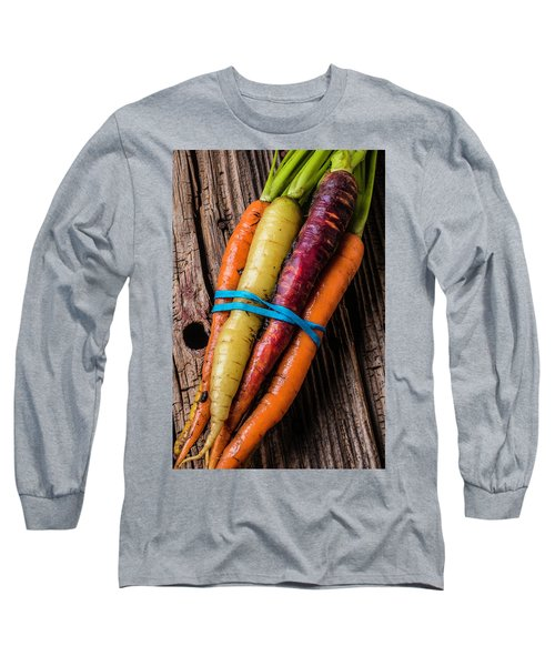 Rainbow Carrots Long Sleeve T-Shirt by Garry Gay