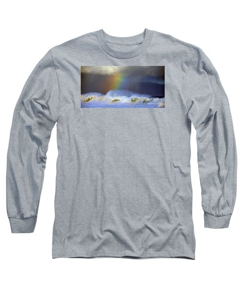 Long Sleeve T-Shirt featuring the photograph Rainbow On The Banzai Pipeline At The North Shore Of Oahu 2 To 1 Ratio by Aloha Art