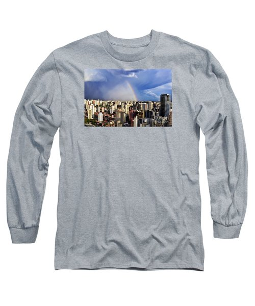 Rainbow Over City Skyline - Sao Paulo Long Sleeve T-Shirt