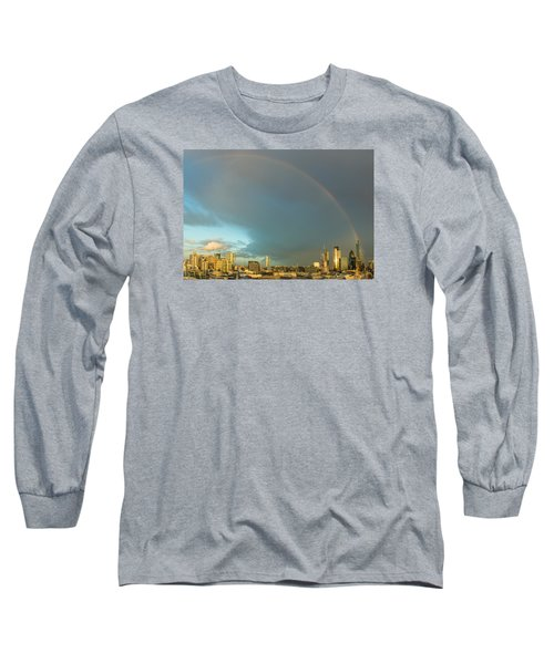 Rainbow Over The City Of London Long Sleeve T-Shirt