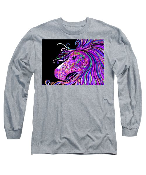 Rainbow Spotted Horse Head 2 Long Sleeve T-Shirt by Nick Gustafson