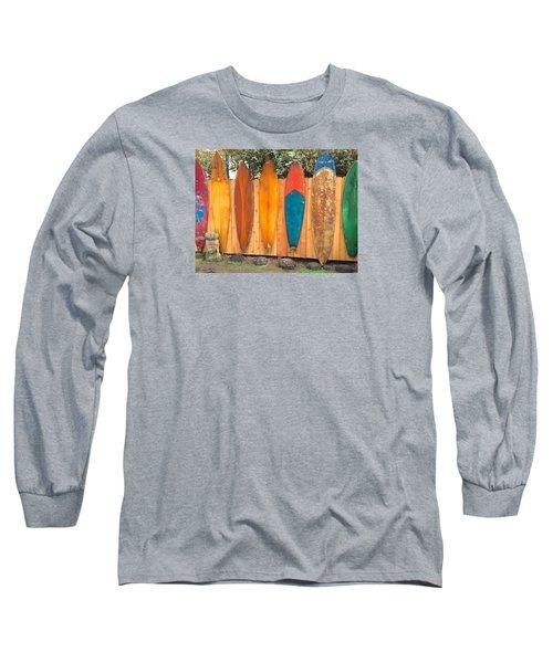 Long Sleeve T-Shirt featuring the photograph Surfboard Rainbow by Brenda Pressnall