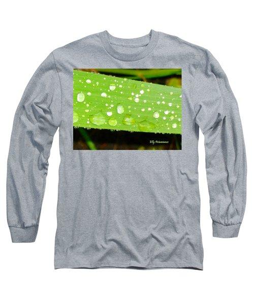 Raindrops On Leaf Long Sleeve T-Shirt