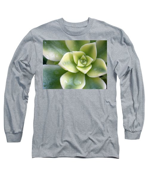 Long Sleeve T-Shirt featuring the photograph Raindrops On The Succulent by Elvira Butler