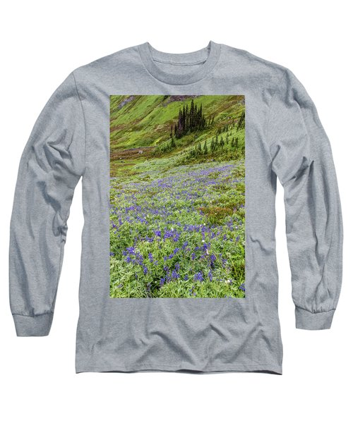 Long Sleeve T-Shirt featuring the photograph Rainier Alpine Wildflowers by Pierre Leclerc Photography