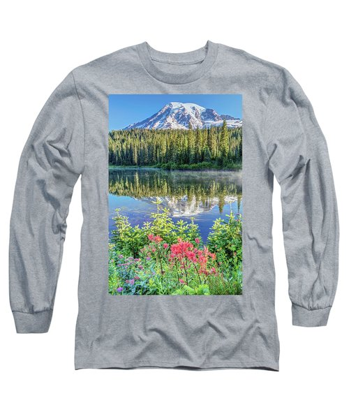 Rainier Wildflowers At Reflection Lake Long Sleeve T-Shirt by Pierre Leclerc Photography