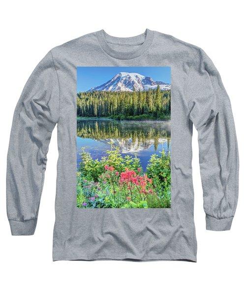 Rainier Wildflowers At Reflection Lake Long Sleeve T-Shirt