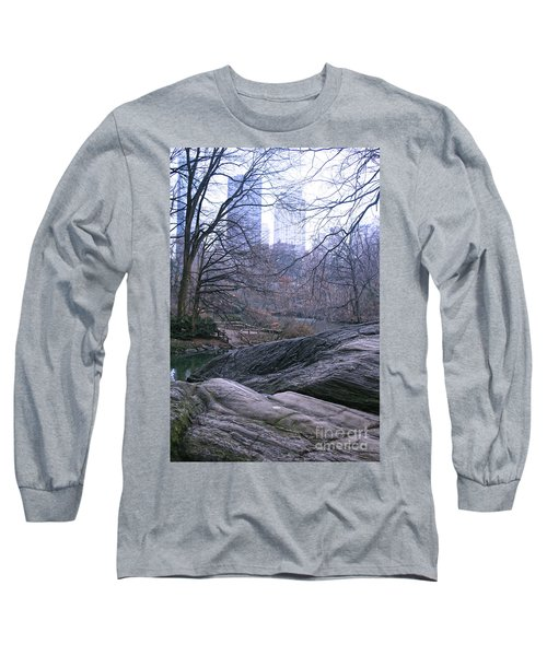 Rainy Day In Central Park Long Sleeve T-Shirt by Sandy Moulder