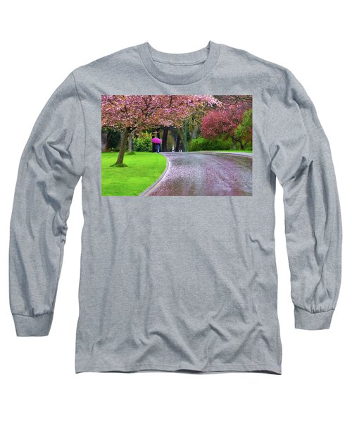 Rainy Day In The Park Long Sleeve T-Shirt by Keith Boone