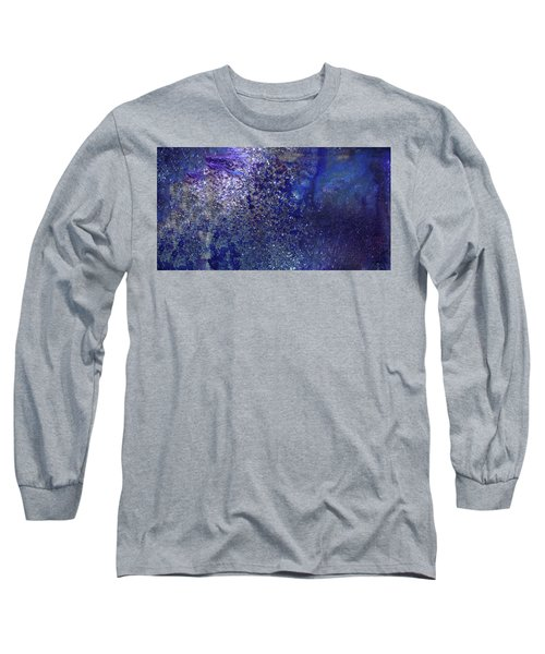 Rainy Night - Blue Contemporary Abstract Art Long Sleeve T-Shirt