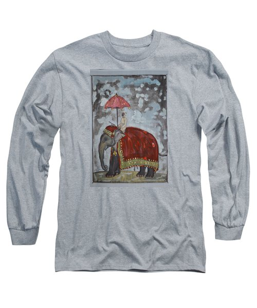 Long Sleeve T-Shirt featuring the painting Rajasthani Elephant by Vikram Singh