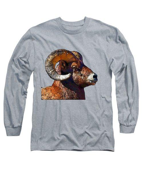 Ram Portrait - Rocky Mountain Bighorn Sheep  Long Sleeve T-Shirt by Lena  Owens OLena Art