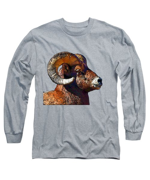 Ram Portrait - Rocky Mountain Bighorn Sheep  Long Sleeve T-Shirt