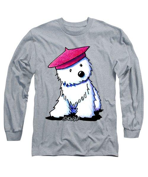 Raspberry Beret Westie Long Sleeve T-Shirt by Kim Niles