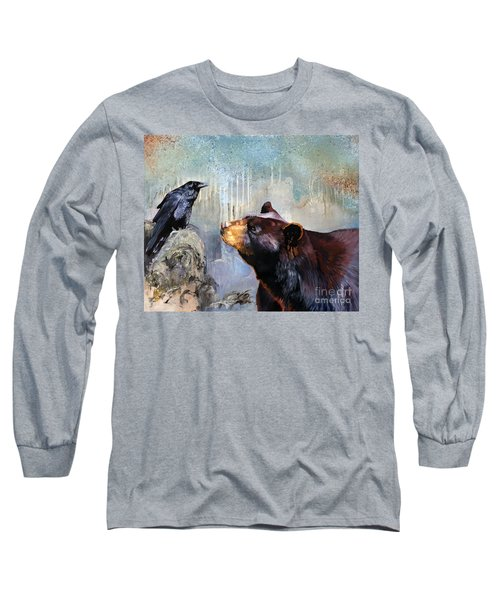 Raven And The Bear Long Sleeve T-Shirt by J W Baker