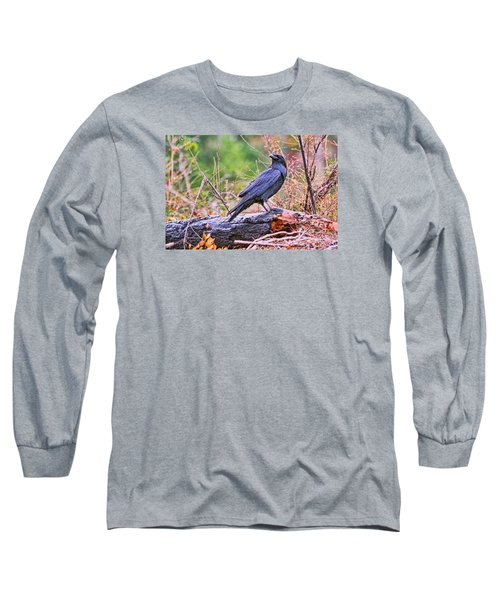 Long Sleeve T-Shirt featuring the photograph Raven by Peggy Collins