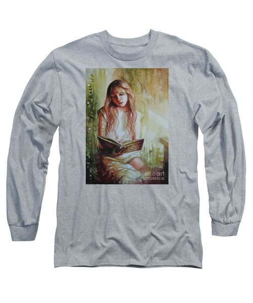 Long Sleeve T-Shirt featuring the painting Reading by Elena Oleniuc