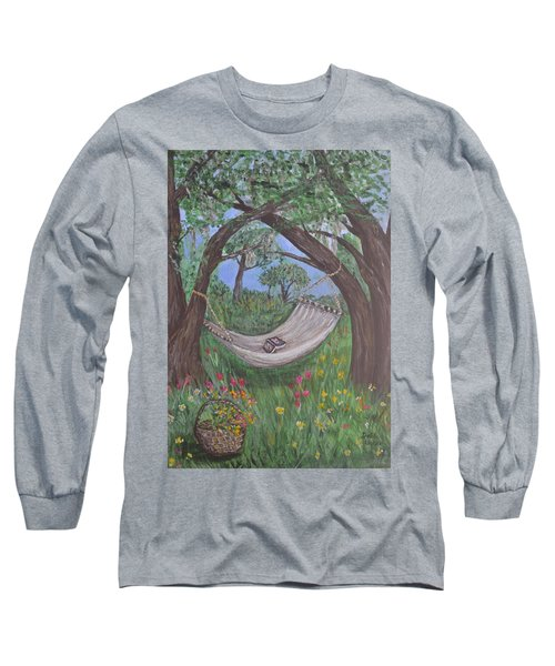 Long Sleeve T-Shirt featuring the painting Reading Time by Debbie Baker