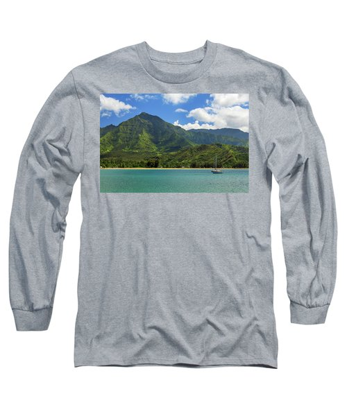 Ready To Sail In Hanalei Bay Long Sleeve T-Shirt by James Eddy