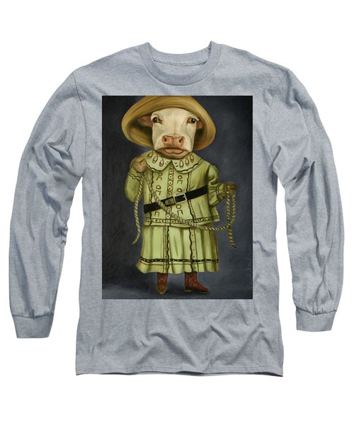 Long Sleeve T-Shirt featuring the painting Real Cowgirl 2 by Leah Saulnier The Painting Maniac