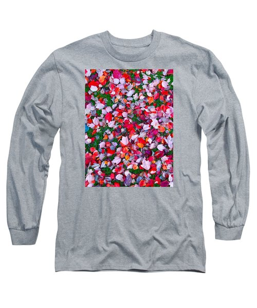 Red And Green Leaves Long Sleeve T-Shirt by Suzanne Lorenz