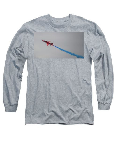 Long Sleeve T-Shirt featuring the photograph Red Arrow Blue Smoke - Teesside Airshow 2016 by Scott Lyons