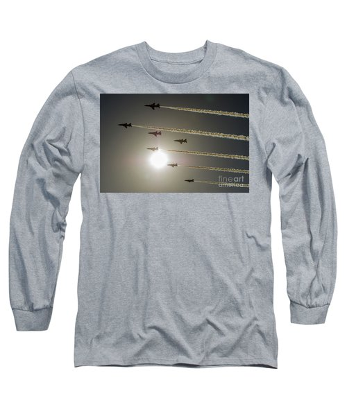 Long Sleeve T-Shirt featuring the photograph Red Arrows Backlit Arrival  by Gary Eason