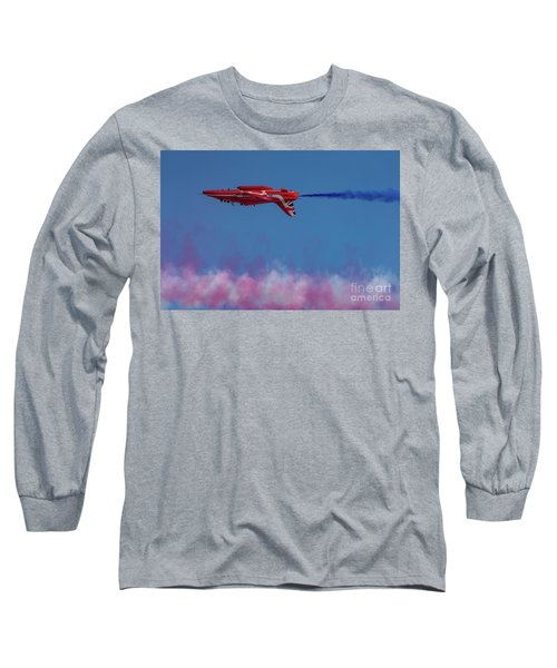 Long Sleeve T-Shirt featuring the photograph Red Arrows Hawk Inverted  by Gary Eason