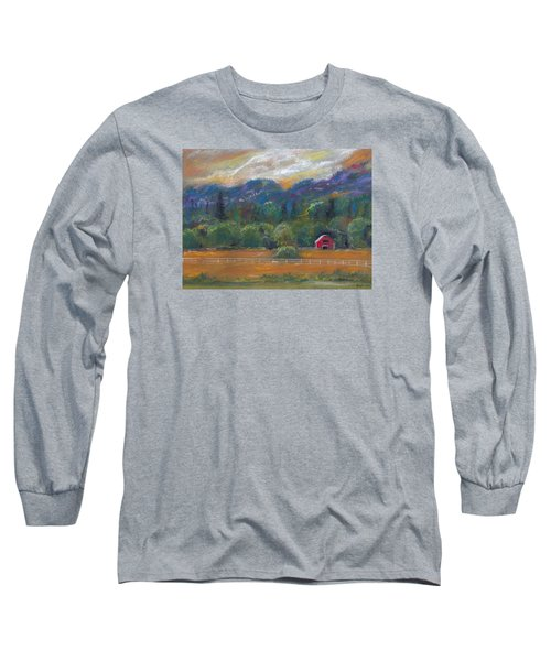 Red Barn Long Sleeve T-Shirt by Clara Sue Beym