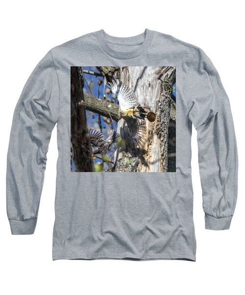 Red Bellied Woodpecker Chasing An Attacking Starling Long Sleeve T-Shirt