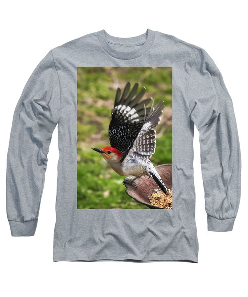 Long Sleeve T-Shirt featuring the photograph Red Bellied Woodpecker Take Off by Terry DeLuco