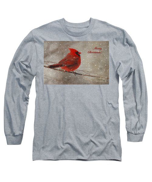 Red Bird In Snow Christmas Card Long Sleeve T-Shirt