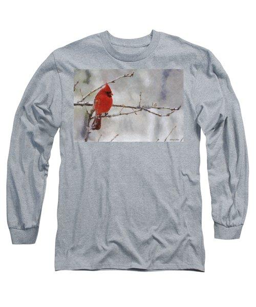 Red Bird Of Winter Long Sleeve T-Shirt